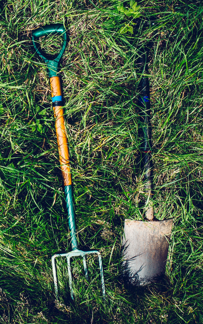 Garden fork and shovel in grass
