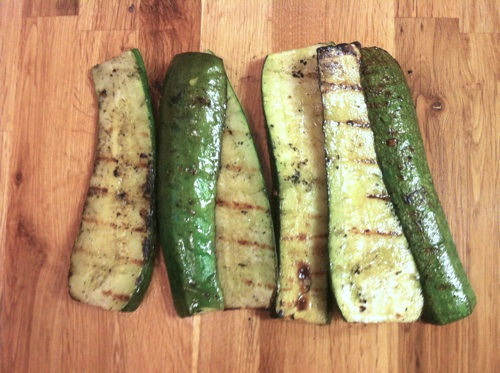 Grilled Zucchini with garlic-infused olive oil