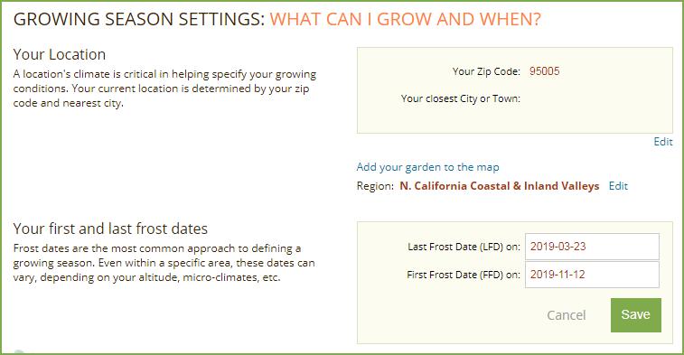 Smart Gardener Frost Date Settings